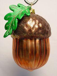 Acorn Oak Leaf Blown Glass Xmas Feather Tree Ornament Figure Squirrel Nut | eBay
