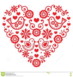 Folk Embroidery Folk art Saint Valentin coeur-amour, mariages, les anniversaires cliparts… - Vector black folk heart with flowers and birds isolated on white Hungarian Embroidery, Folk Embroidery, Learn Embroidery, Embroidery Patterns, Machine Embroidery, Bordado Popular, Scandinavian Folk Art, Birthday Greeting Cards, Birthday Greetings