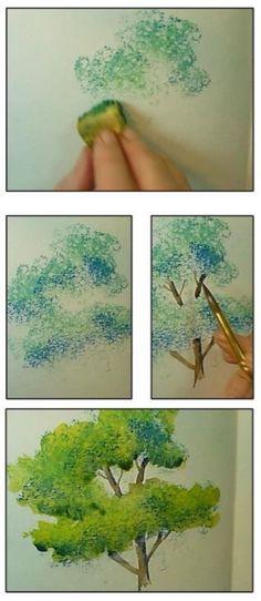 水彩树 巧用海绵