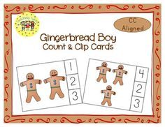 These cards are terrific for Math Centers – A Hands-On Activity your kiddos will love!  Gingerbread Boy Clip Cards allow learners to practice counting. WAIT, THERE'S MORE!!! More cards that is. Now, you have 20 clip cards! Gingerbread Boy Count & Clip Cards help your little tykes practice counting from 1 to 20!!! On each card is a set of pictures to count and a choice of three numerals. Learners count the pictures in the set and clip a clothespin to the numeral that corresponds with the numb...
