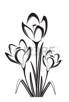 Black white vector illustration of spring flower - Schablonen - Sunflower Drawing, Butterfly Drawing, Drawing Flowers, Flower Outline, Flower Art, Folk Embroidery, Embroidery Patterns, Pinguin Illustration, Bordado Popular