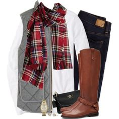 Gray J.crew vest & red plaid scarf by steffiestaffie on Polyvore featuring J.Crew, American Eagle Outfitters, Tory Burch, Coach and Michael Kors
