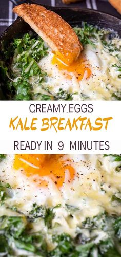 Creamy Eggs and Kale Breakfast – These Creamy breakfast eggs with kale are an easy one pot breakfast or lunch – ready in under 10 minutes. My absolute favourite grown-up version of dippy eggs and soldiers. Dippy Eggs And Soldiers, Eggs And Kale, Egg And Grapefruit Diet, Creamy Eggs, Boiled Egg Diet Plan, Comida Keto, Eating Eggs, Healthy Eating Habits, Eating Plans