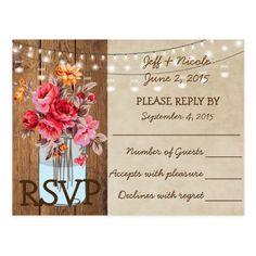 Flower Country Wood Mason Jar Wedding RSVP Postcard
