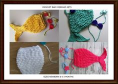 This is a listing for a Newborn size or 0-3 Crochet Mermaid Costume. The costume consists of the tail and fin, bra and headband. I have shown some of the different sizes I have had people order to give you some ideas of colors. You can choose whichever color you would like. Don't see your color up there, just leave a note upon ordering and it can be done. You think, I make it. :)
