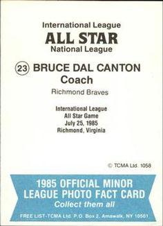 1985 TCMA International League All-Stars #23 Bruce Dal Canton Back