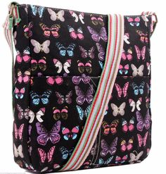 A black crossbody across body canvas shoulder bag with a buterfly pattern excellent quality thick canvas fabric with a single adjustable shoulder Butterfly Scarf, Purple Butterfly, Butterfly Print, Pink Purple, Canvas Bags, Canvas Fabric, Black Crossbody, Crossbody Shoulder Bag, Prom Accessories