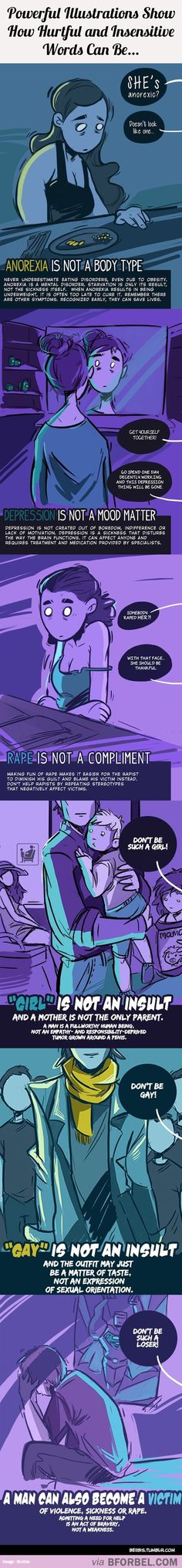 6 Powerful Illustrations Show How Hurtful And Insensitive Words Can Be…