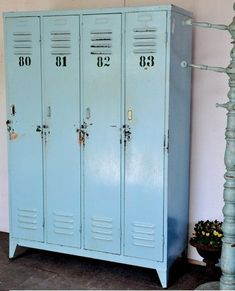 Vintage lockers...the kind I had in highschool.  I had nightmares for years regarding these and their combination locks.  I dreamed I 'd forgot my combination and would try, try try in my dream to remember it. In real life, I never forgot my combination, so I do not know why the nightmares.....