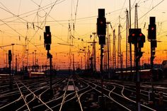 """Urban photography - """"Railroad Tracks at Sunset"""" from The Bigstock Collection available at Great BIG Canvas."""