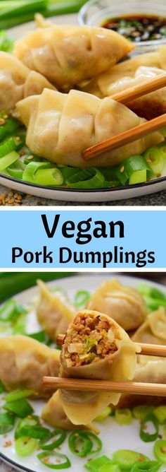 """These vegan dumplings feature a faux pork, shiitake and cabbage filling. They are the """"meatiest"""" vegetarian dumplings out there and they are surprisingly easy to make! Vegan Dumplings, Fruit Dishes, Savory Snacks, Plant Based Recipes, Cilantro, Finger Foods, Vegan Vegetarian, Cabbage, Vegan Recipes"""