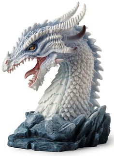 Horned Azure Dragon Bust Statue, STU-Home, Size: x x Made of Polystone Normally ships in business days Dragon Horns, Dragon Face, Dragon Statue, Dragon Head, Dragon Miniatures, Fantasy Miniatures, Statues, Dnd Dragons, Dragon Artwork