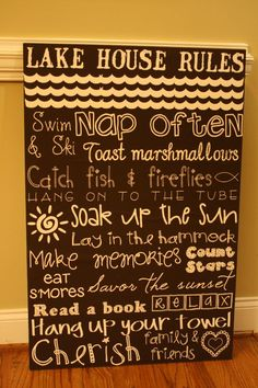 lake house rules sign.  Free image file download to print yourself