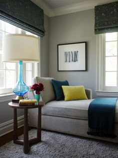 Gray + Blue = Cool Spaces~my head space - home decorating, interior design & style inspiration
