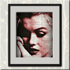 0-1015-7 Marilyn Monroe Dictionary Art Print, The Marilyn Collection, Hollywood Actress, Vintage Wall Art, Portrait Print, Made in the USA - pinned by pin4etsy.com