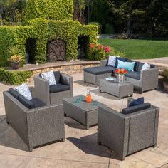 Christopher Knight Home Puerta Outdoor 9-piece Wicker Sectional Sofa Set with Cushions | Overstock.com Shopping - The Best Deals on Sofas, Chairs & Sectionals