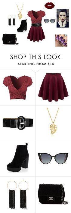 """""""Cordelia"""" by katriana-rose ❤ liked on Polyvore featuring Karen Millen, Sonal Bhaskaran, New Look, Fendi, Bebe, Chanel and Lime Crime"""