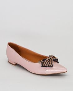 76d2c1fbc Sapato feminino Vizzano com bico fino e detalhe em laço. Cor: Rosa  Acabamento: