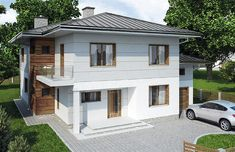 modern and functional two-storey house with an elegant architectural form. Designed to have a low inclination hipped roof compliments to the cube-like body. Elevation is finished with white walls and classic wood texture [. Two Bedroom House Design, Two Story House Design, Bungalow House Design, Small House Design, Duplex House Plans, House Floor Plans, One Storey House, Brick Paneling, Small Porches