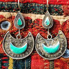 Pair of ethnic tribal oriental gypsy earrings, vintage style green stone earrings, afghan tribal jewelry