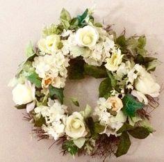 Silk Flower Wreath, Wedding Decor Wreath,Front Door Wreath,White Rose Wreath,Summer Wreath - pinned by pin4etsy.com
