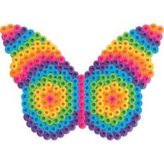Designed By Perler Design Team This colorful butterfly surely lives at the edge of the rainbow! You can hang it in a window as a suncatcher, or use a magnet to display it on the fridge. Perler Bead Designs, Perler Bead Templates, Hama Beads Design, Diy Perler Beads, Perler Bead Art, Melty Bead Patterns, Pearler Bead Patterns, Perler Patterns, Beading Patterns
