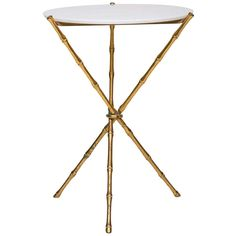 A Gilt Brass Faux Bamboo Tripod Base Occasional Table | From a unique collection of antique and modern side tables at https://www.1stdibs.com/furniture/tables/side-tables/