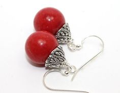 1.25in Long Red Jade and Ornate Bali Silver Drop Earrings | AyaDesigns - Jewelry on ArtFire