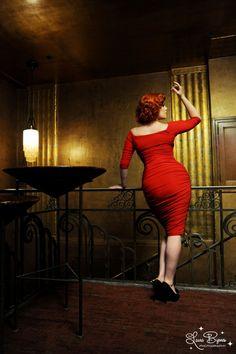 Monica Dress in Red Matte Jersey Knit