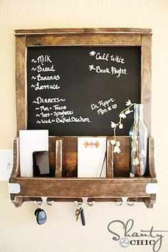 DIY: Chalkboard with Key Hooks and Storage Cubes....step by step pictures for assembly!