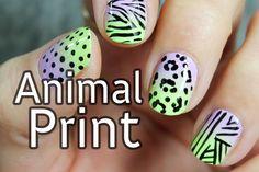 Diseño de uñas con estampado animal cebra y leopardo | Nail Art animal p...