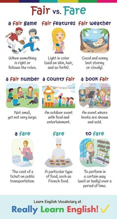 Fare vs. Fair (Confusing Words in English) ==>> FARE most commonly refers to the cost of a ticket for public transportation or another form of transportation. FAIR means that something is right or according to the rules. It can also mean a light color, usually when talking about a person's hair or skin. But both words have several more meanings a well. Let's go over some of them.