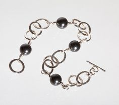 Hammered Silver Chain Bracelet with Black Swarovski Pearls £39.50