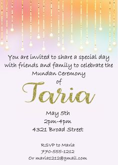 Mundan And String Lights Invitations