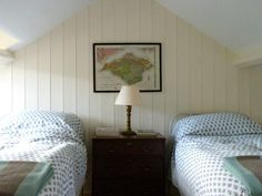 Ben Pentreath Old World Bedroom with Twin Beds and Map and Beadboard Paneling, Remodelista Bedroom Loft, Blue Bedroom, Guest Room Office, Attic Office, Attic Loft, Attic Rooms, Attic Spaces, Old World Bedroom, English Decor