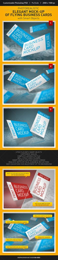 Elegant Mockup of Flying Business Cards — Photoshop PSD #photorealistic #template • Available here → https://graphicriver.net/item/elegant-mockup-of-flying-business-cards/2925059?ref=pxcr