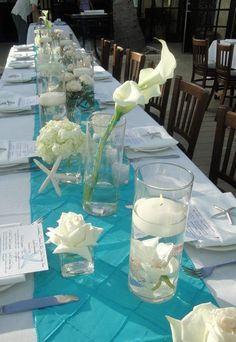 Black Palm Restaurant, Flowers by Fudgie, Wedding centerpieces, Composite look, feasting table centerpieces, White and teal wedding theme