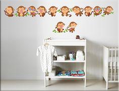 Adesivi murali greche scimmiette bimbi sono decorazioni adesive da parete perfette per arricchire la cameretta dei bambini con…