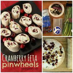Cranberry Feta Pinwheels Recipe - A colorful, yummy holiday appetizer