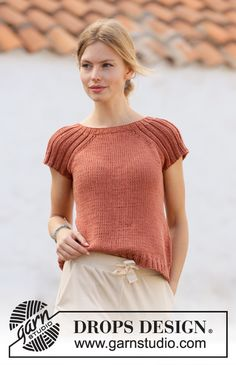 Canyon Clay DROPS Free knitting patterns by DROPS Design Chest measurements cm 31 1 2 5 8 3 4 1 4 Full length cm 19 3 4 8243 1 2 8243 1 4 8243 8243 3 4 8243 5 8 8243 The Effective Pictures We Knitting Stitches, Knitting Patterns Free, Knit Patterns, Free Knitting, Free Pattern, Sewing Patterns, Drops Design, Summer Knitting, Crochet Diagram