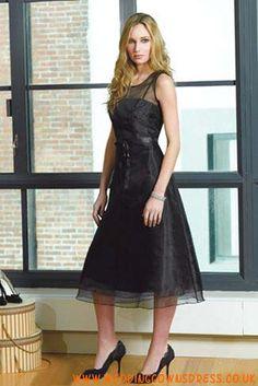 Black Tea Length Pleated Organza Classic Bridesmaid Dresses Online