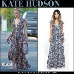 Kate Hudson in floral print maxi dress