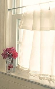 I like the idea of the lace sewn above the hem. Maybe it wouldn't get as grungy looking. Would do with out the attached valance.