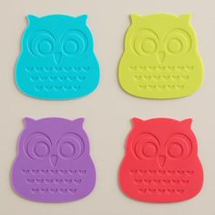 One of my favorite discoveries at WorldMarket.com: Silicone Owl Coasters, Set of 4- ADORABLE!