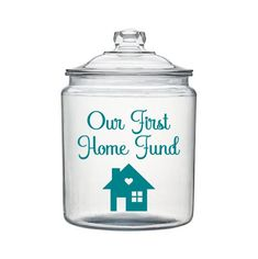 New Home Savings, Our First Home Fund, Money Jar Decal, Savings Jar Decal, Housewarming Gift by SimplyGracefulDesign on Etsy Mason Jar Crafts, Mason Jar Diy, Mason Jar Bank, Money Images, Savings Jar, Money Jars, Save For House, Housewarming Party, Glass Jars