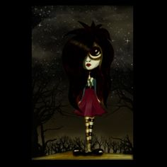 My sketch and digital painting of my goth cyclops girl. :D www.brendaboo.com