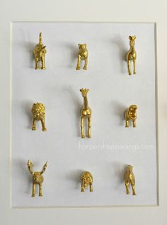 gilded/painted plastic animals