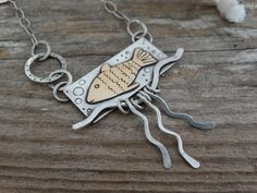 Sterling silver Fish Necklace, hand fabricated, one of a kind necklace in mixed metals $125.00 by JoDeneMoneuseJewelry