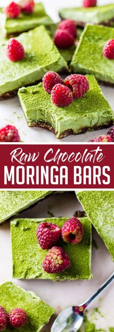 Celebrate St. Patrick's Day with this healthy and GREEN treat- Raw Chocolate Moringa Bars