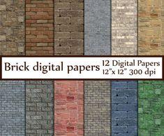 "Brick Digital Paper: ""BRICK TEXTURES""  digital brick wall Brick Wall Backdrops Rustic Brick paper Br House Exterior Color Schemes, Exterior Colors, Invitation Background, Paper Background, Brown Brick Houses, Wood Scrapbook Paper, Red Brick Fireplaces, Brick Paper, Brick Texture"